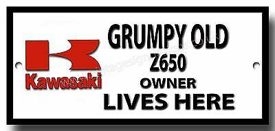 Grumpy Old Kawasaki Z650 Owner Lives Here Enamelled Finish Metal Sign.