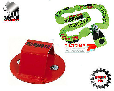Mammoth Thatcham Security Lock Chain And Ground Anchor Motorcycle Scooter Bike