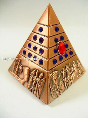 NEW Feng Shui Egypt Egyptian Copper Tone Pyramid REIKI Chakra Healing Amulet #Bl