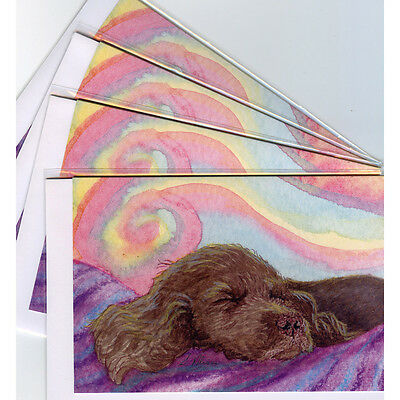 4 x Sussex spaniel dog greeting cards fast asleep serious relaxation dreaming
