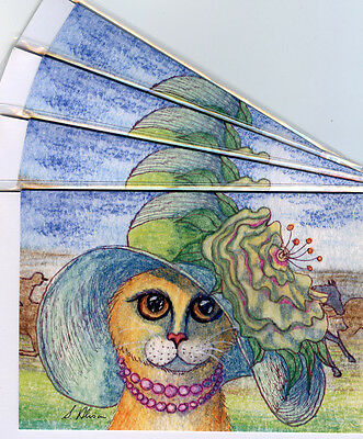4 x ginger tabby cat greeting cards - best hat at the Derby races horse racing