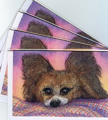 4 x Papillon Butterfly dog greeting cards waiting for treats continental spaniel