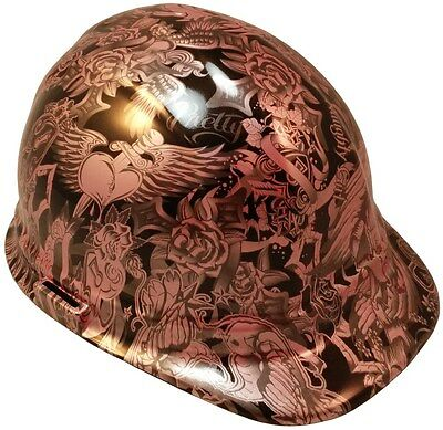 NEW!! Hydro Dipped Cap Style Hard Hat with Ratchet Suspension- Tattoo Pink