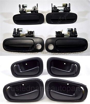 New Outside Outer Exterior Door Handle For Toyota Front /& Rear Black-set of 4