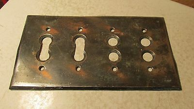 Antique Coppertone Brass Push Button Light Switch Cover Plate