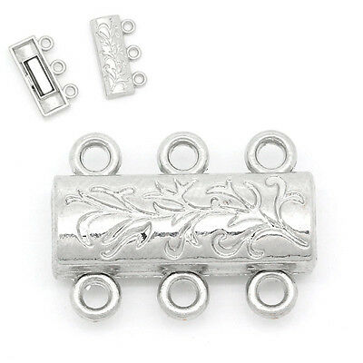 5PCs Magnetic Clasps Jewellery Findings Silver Tone 19mmx14mm