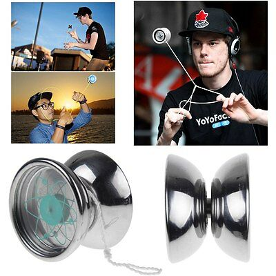 New Professional YoYo Ball Bearing String Trick Stainless Steel Kids Toys Silver