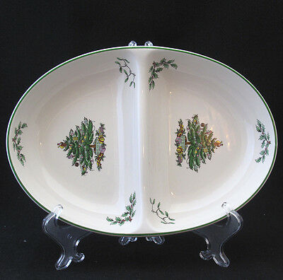 SPODE CHRISTMAS TREE DIVIDED SERVING DISH mint