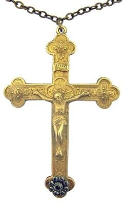 Jesus Christ on Cross 3 1/4 Inch Bronze Tone Budded Crucifix on Chain Necklace
