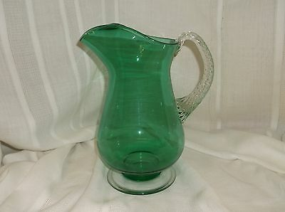 Art Glass Green Ice Lip Applied Handle Pitcher