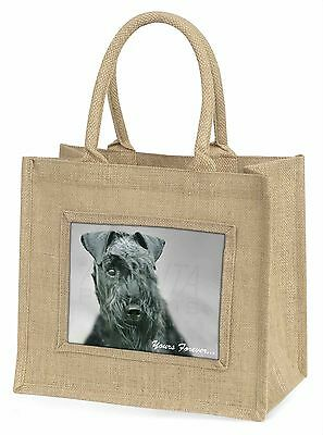 Kerry Blue Terrier 'Yours Forever' Large Natural Jute Shopping Bag B, AD-KB1yBLN