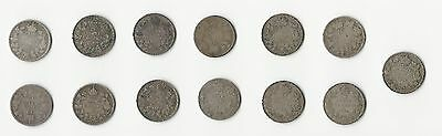 Canada,  1906-1936, 10 Cents,  Silver,  13 Different Dates,  Mixed Grades