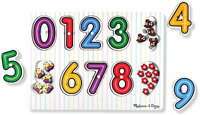 Melissa & Doug SEE INSIDE WOODEN PEG PUZZLE/JIGSAW NUMBERS Toddler Toy/Gift
