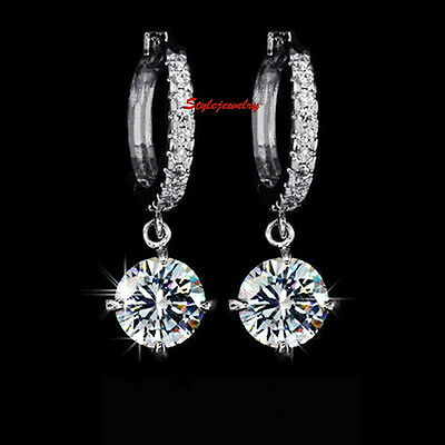 Silver Clear Round Drop Dangle Bridal Earring Made With Swarovski Crystal IE117