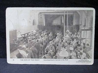 King George V at Front Attending Church  #93 Series XII Daily Mail Postcard WWI