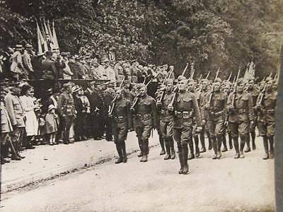 American Troops Marching Past Review Stand Chaumont B&W Keystone Stereoview WWI