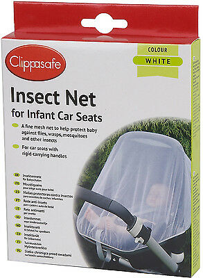 Clippasafe UNIVERSAL CAR SEAT INSECT NET Mesh Baby/Child Travel Safety BN