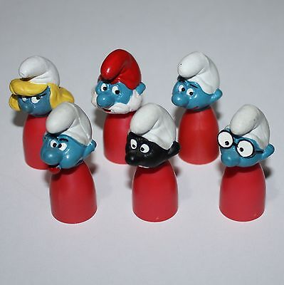 Puffo Puffi Smurf Smurfs Stationery Finger Puppets Complete Sat Red