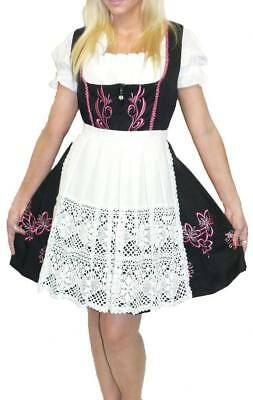DIRNDL Oktoberfest German Dress Trachten 3 pcs SHORT BLACK Waitress EMBROIDERED