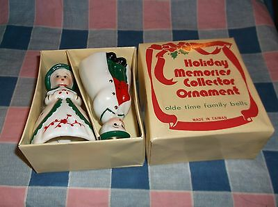"""Olde Time Family Christmas Bells Boy Girl w/ Box  About 3 3/4"""" High Box Has Wear"""