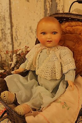 "15"" Early antique vintage old composition baby doll, with straw jointed body"