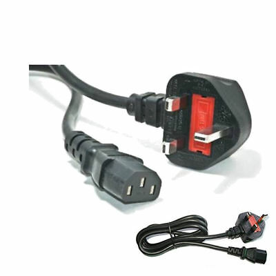 2M Mains Power Cable Pc Monitor Kettle Lead Tft Lcd Tv Lead 3 Pin 2 Meter Uk