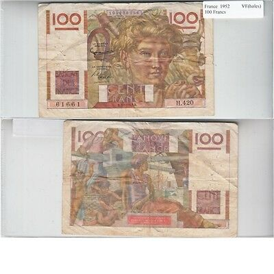 1952 100 Francs Banknote from France in Very Fine Condition.