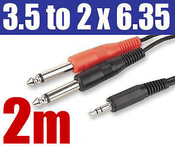 "3.5mm STEREO to 2 x 6.35mm 1/4"" MONO Jack Plug Cable 26"