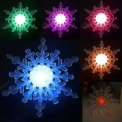 Color Changing Snowflake Window Ornament LED Christmas Decoration Night Light