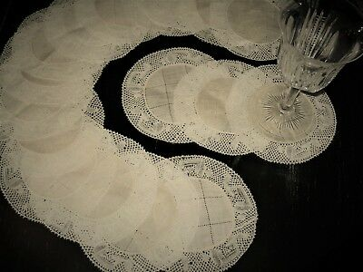 EARLY Elegant Unuset Set 15 FLANDERS BOBBIN LACE&Hemstitch Goblet Rounds~5-1/2""