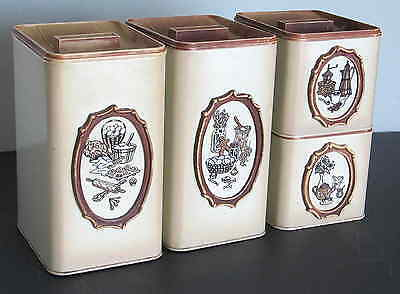 4 EKCO Metal Stacking Kitchen Canisters CANADA Mid Century Retro Plastic Lids