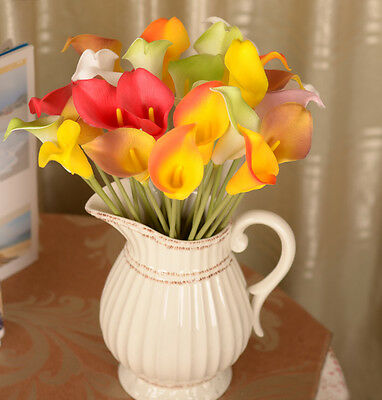 Real Touch Fake Silk Flower Arrangement Artificial Calla Lily Home Decor