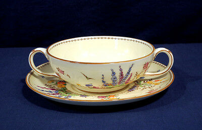 Crown Staffordshire China FLOWER GARDEN Cream Soup Bowl and + Saucer Set