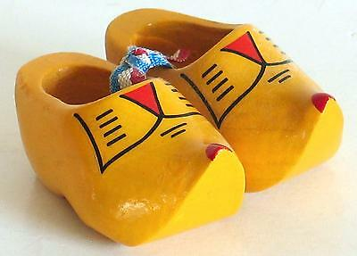 """Vintage Carved Wood 2.5"""" DUTCH HOLLAND CLOGS Shoes Red Yellow Black Pair"""