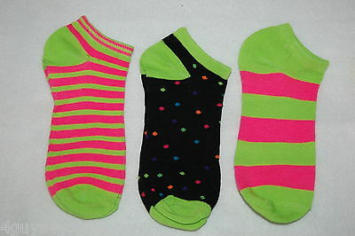 Womens Ankle Socks 3 Pair Lot Fits 4-10 Shoe Size LIME GREEN PINK BLACK Striped