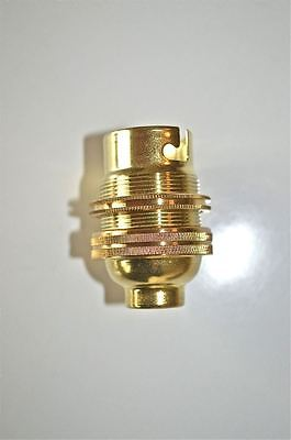 Brass Bayonet Fitting Bulb Holder Lamp Holder Earthed C/W Shade Ring 1/2 Inch L3