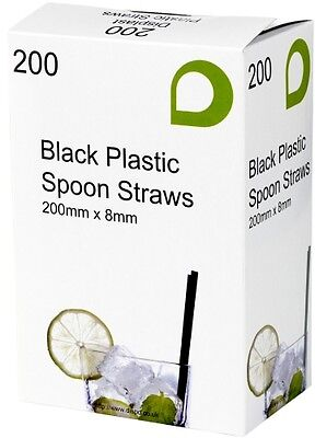 Black Spoon Straws Plastic.  Dispenser Box. Great Value