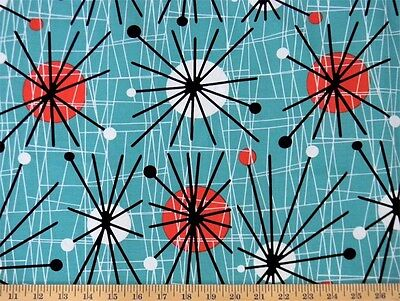 Michael Miller Mid Century Modern Atomic Turquoise Fabric
