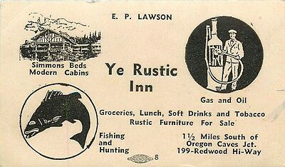 """Small Business Card Size Blotter Of """"Ye Rustic Inn"""" Oregon Caves Junction, OR"""