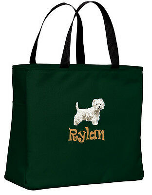 WEST HIGHLAND WHITE TERRIER embroidered essential tote bag 18 COLORS