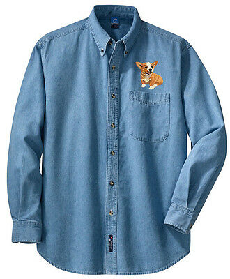 Corgi Embroidered Denim Shirt - Sizes XS thru XL