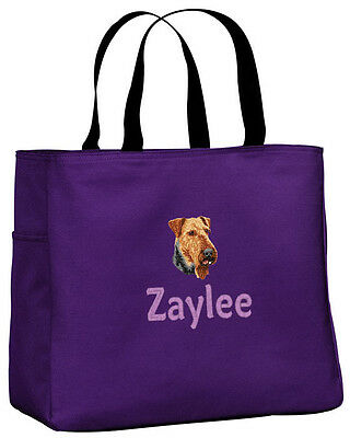 Airedale embroidered essential tote bag 18 COLORS