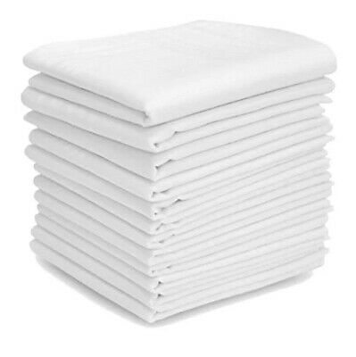 "NEW 4/8/12 MENS PLAIN WHITE HANDKERCHIEF COTTON BLEND HANKIE/HANKY 14"" x 14"""