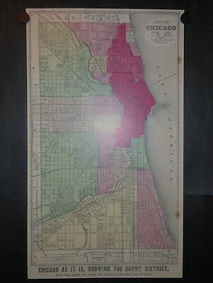 Great Chicago Fire of 1871 Map Reprint