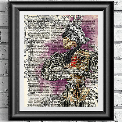 ART PRINT ON ORIGINAL ANTIQUE BOOK PAGE Goth Victorian Skull Lady Dictionary