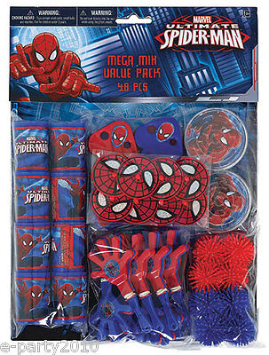 ULTIMATE SPIDER-MAN FAVOR PACK (48pc) ~ Superhero Birthday Party Supplies Toys