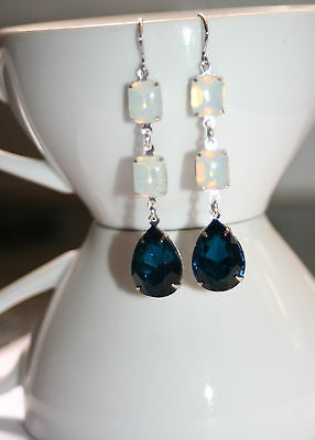 Triple drop vintage White opal glass Blue zircon crystal silver dangle earrings