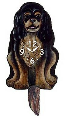 Wall Clocks - Cavalier King Charles Spaniel Wagging Tail Wall Clock - Black/tan