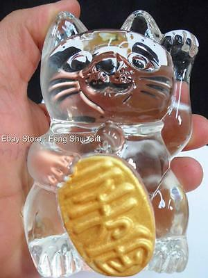 Japanese Chinese Lucky Good Luck Hand Paw Up Fortune Kitty Crystal Glass Cat NEW
