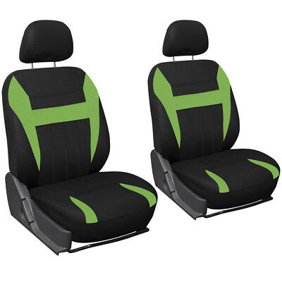 SUV Van Truck Seat Cover Green Black 6pc Bucket w/Detachable Head Rest Mesh